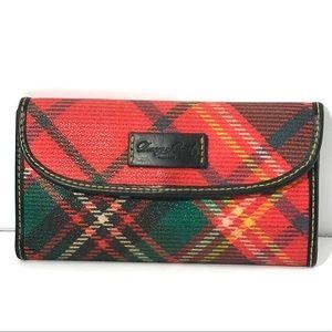 Dooney & Bourke Red Crimson Tartan Plaid Wallet
